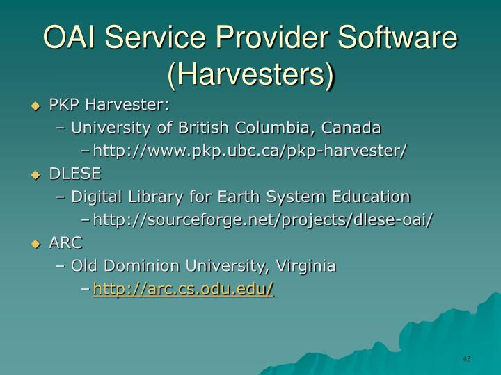 OAI Service Provider Software