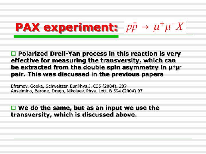 PAX experiment: