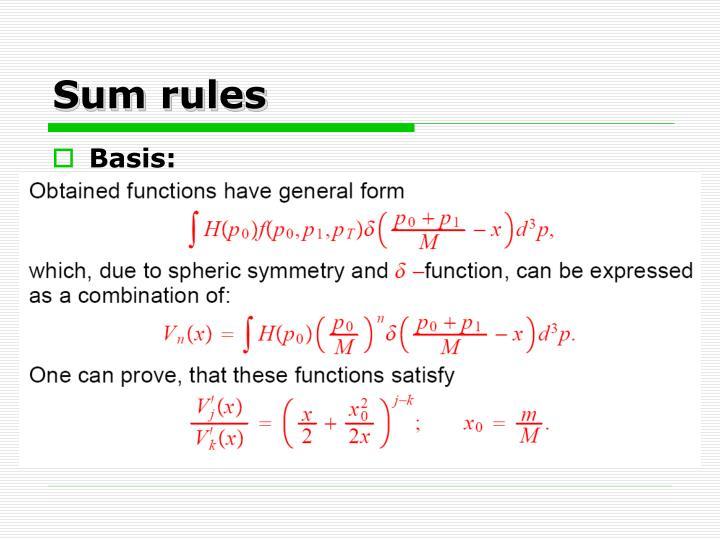 Sum rules