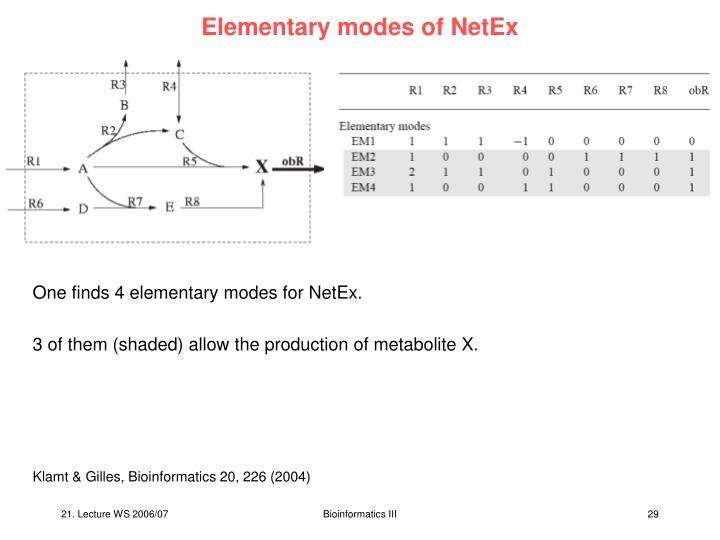 Elementary modes of NetEx