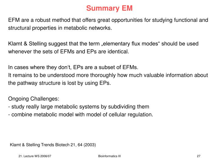 Summary EM