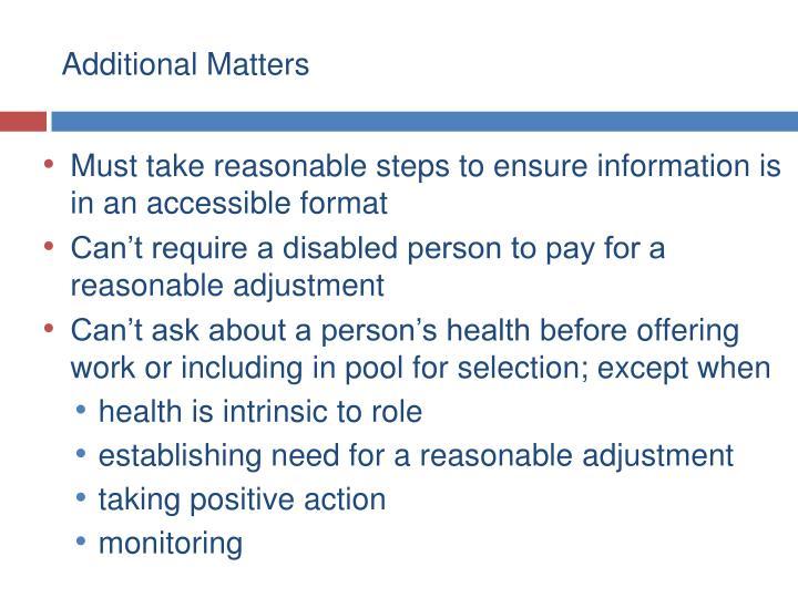 Additional Matters