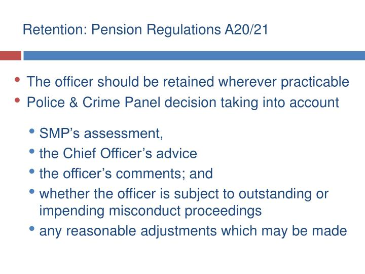 Retention: Pension Regulations A20/21
