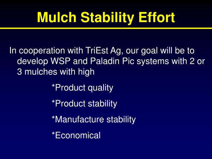 Mulch Stability Effort