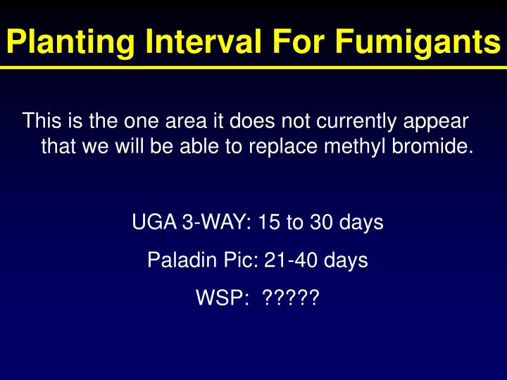 Planting Interval For Fumigants