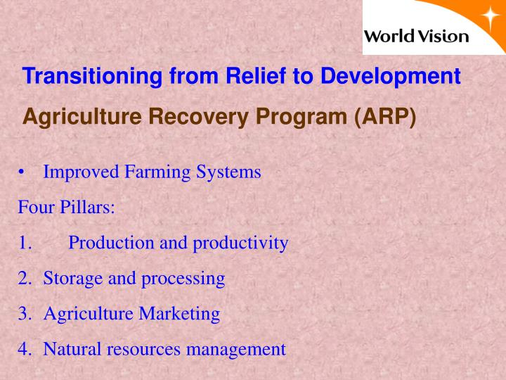 Transitioning from Relief to Development