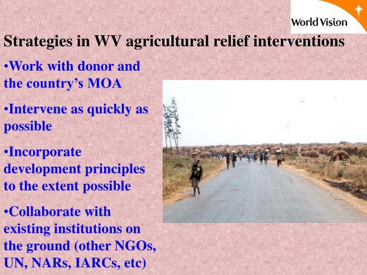 Strategies in WV agricultural relief interventions