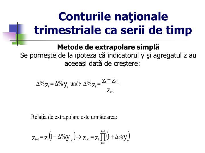 Conturile naţionale trimestriale ca serii de timp