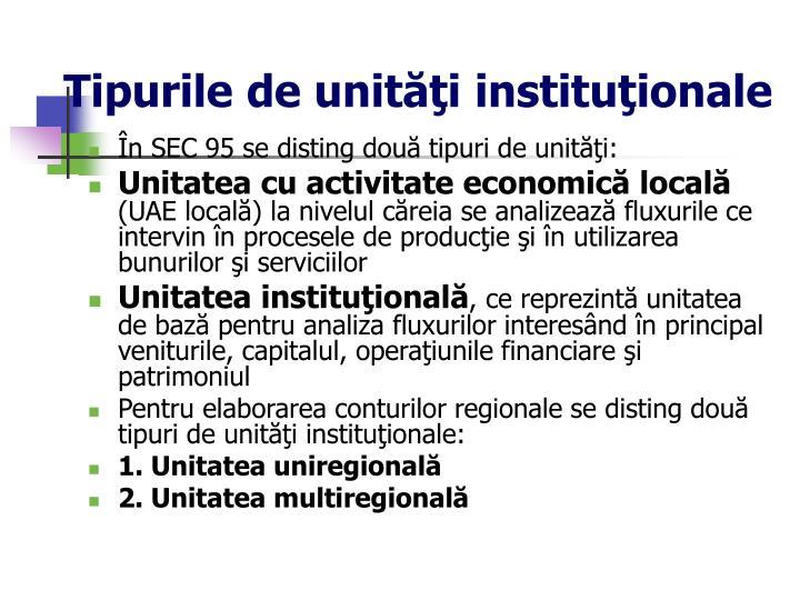 Tipurile de unităţi instituţionale