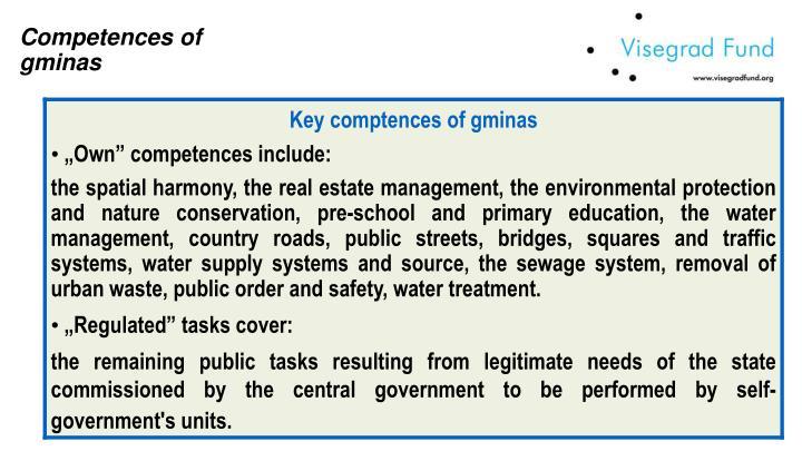Competences of  gminas