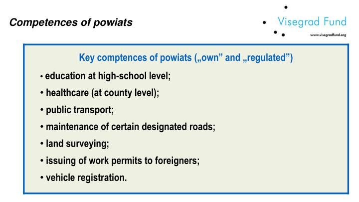 Competences of powiats