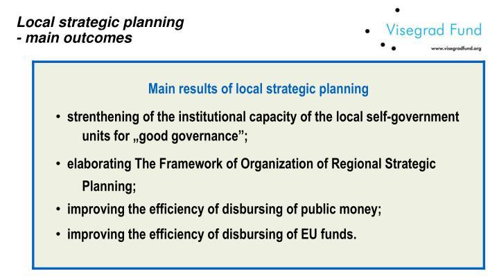 Local strategic planning