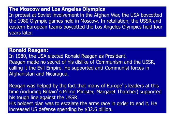 The Moscow and Los Angeles Olympics
