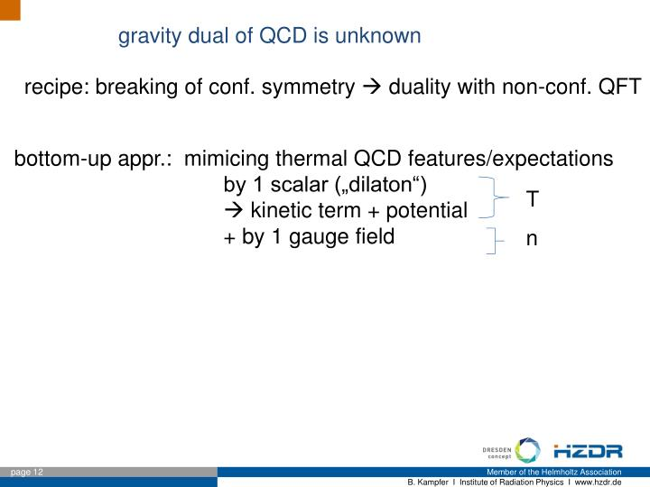 gravity dual of QCD is unknown