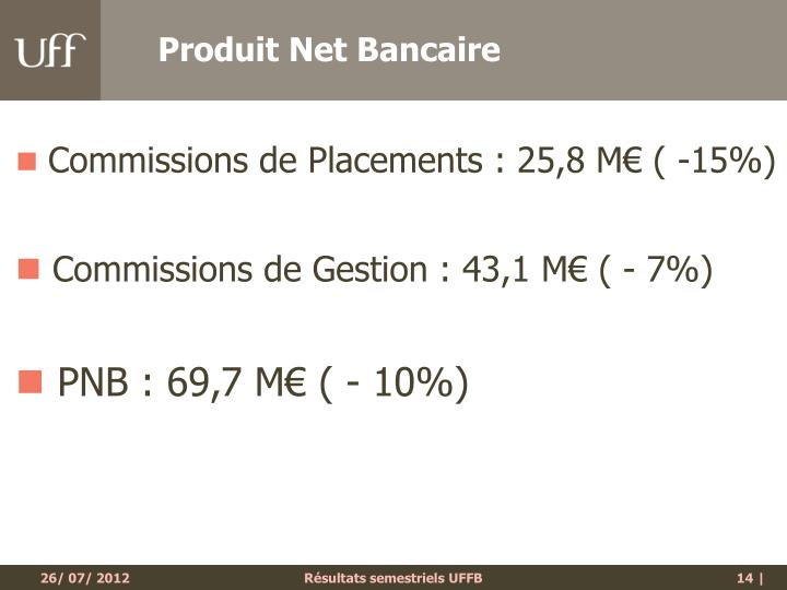 Produit Net Bancaire