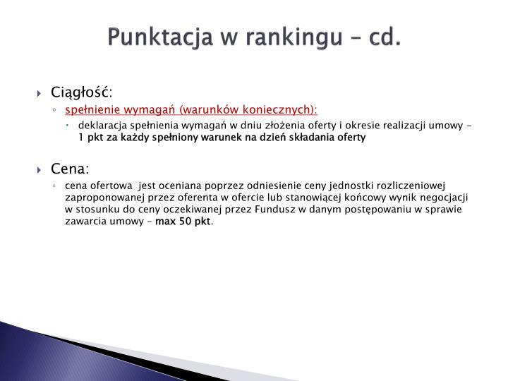 Punktacja w rankingu –