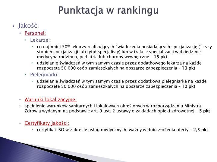 Punktacja w rankingu