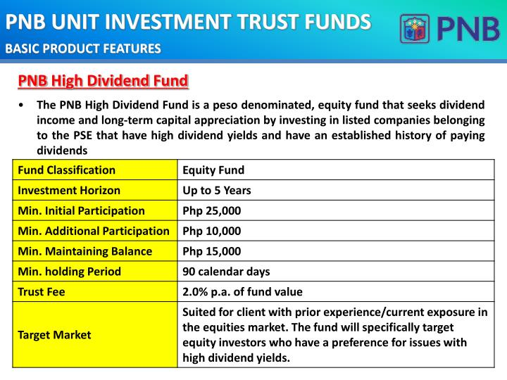 PNB UNIT INVESTMENT TRUST FUNDS