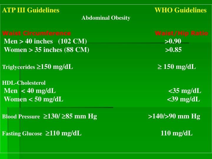 ATP III Guidelines                                                      WHO Guidelines