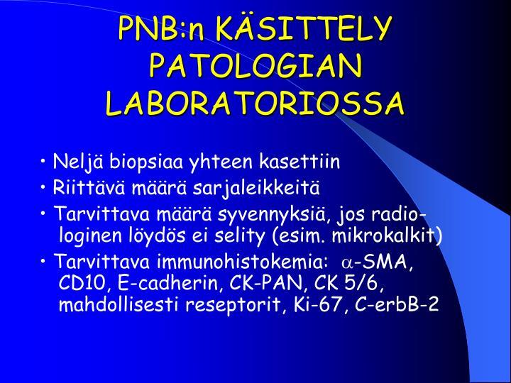 PNB:n KÄSITTELY PATOLOGIAN  LABORATORIOSSA