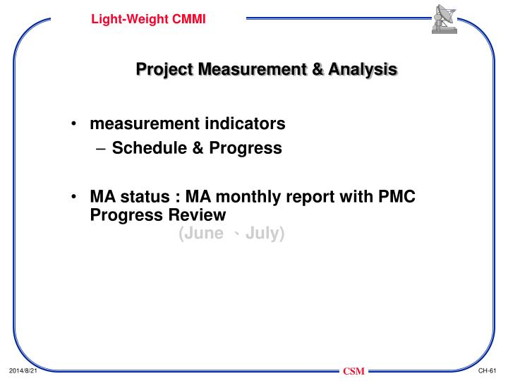 Project Measurement & Analysis