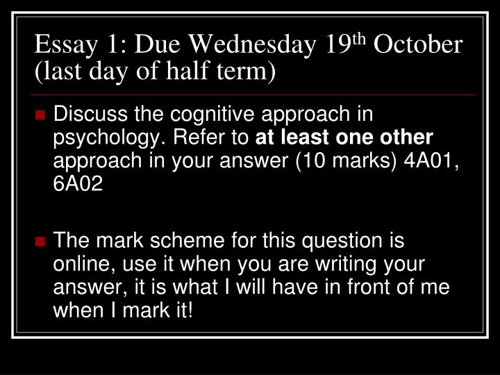 Essay 1: Due Wednesday 19