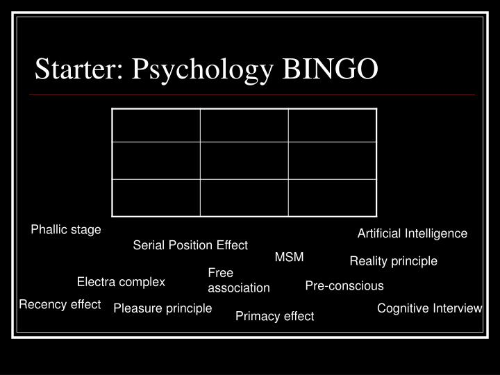 Starter psychology bingo