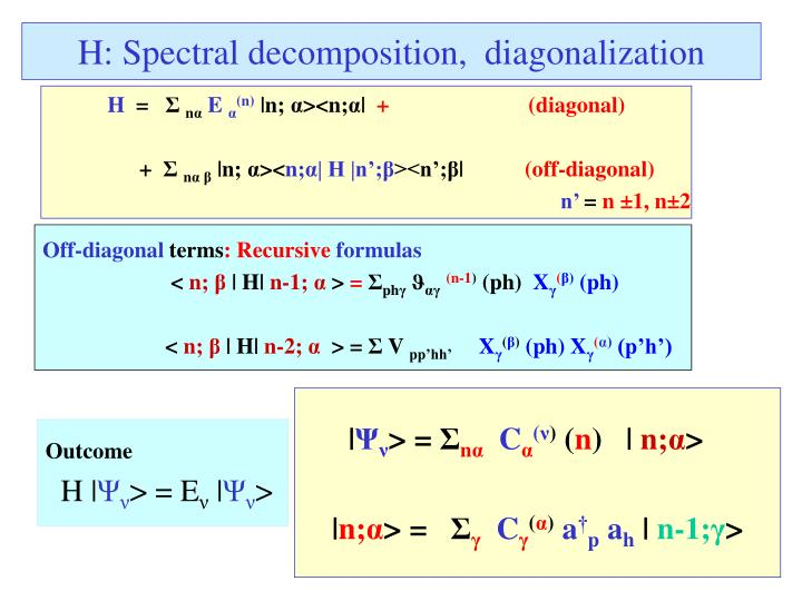 H: Spectral decomposition,  diagonalization