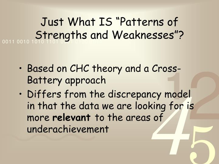 """Just What IS """"Patterns of Strengths and Weaknesses""""?"""