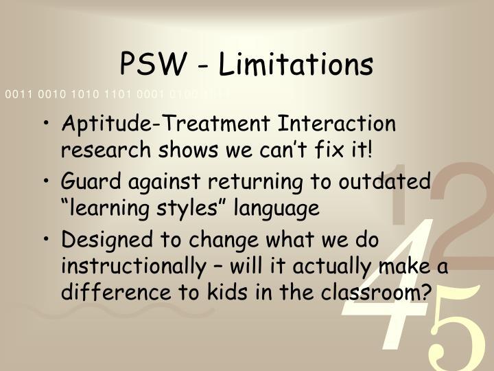 PSW - Limitations