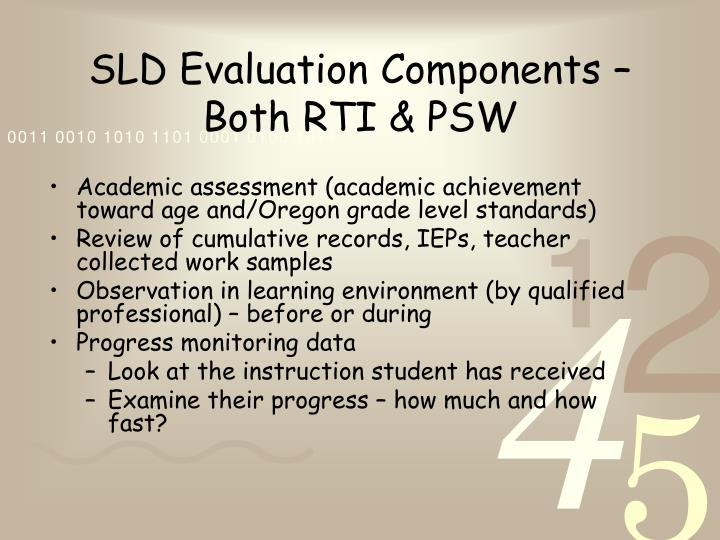 SLD Evaluation Components – Both RTI & PSW