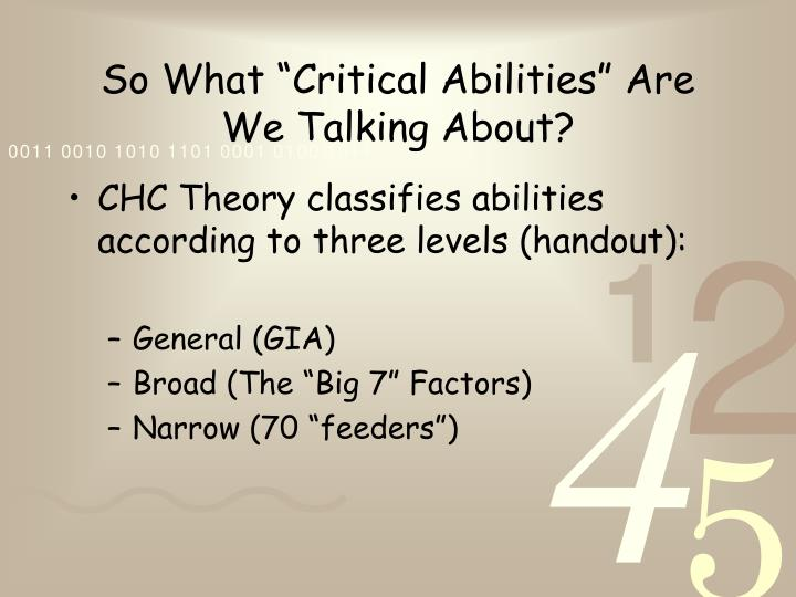 """So What """"Critical Abilities"""" Are We Talking About?"""