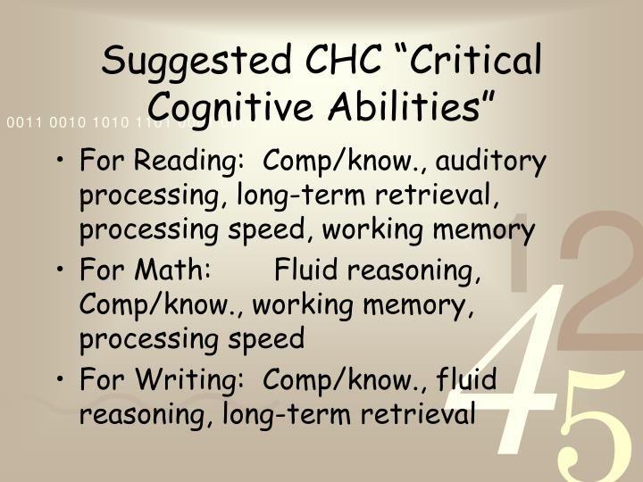 """Suggested CHC """"Critical Cognitive Abilities"""""""