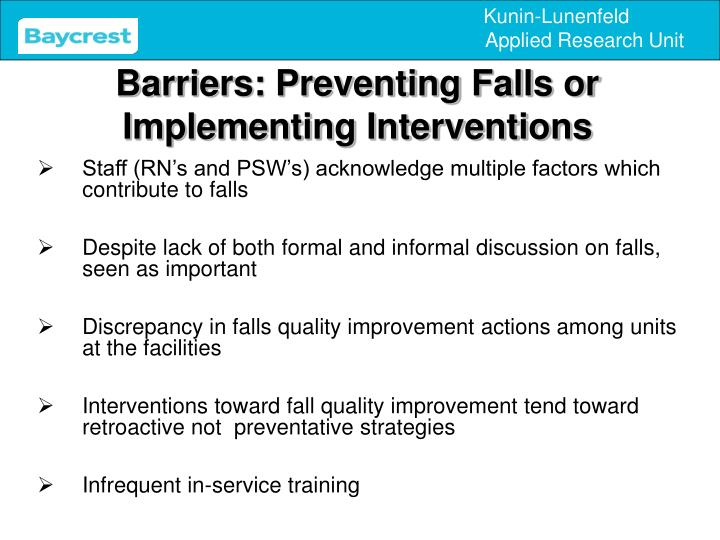 Barriers: Preventing Falls or Implementing Interventions