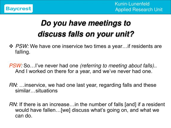 Do you have meetings to