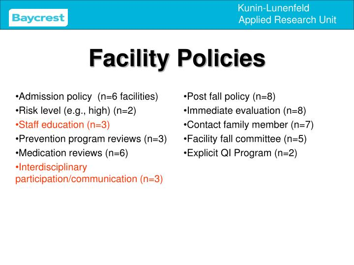 Admission policy  (n=6 facilities)
