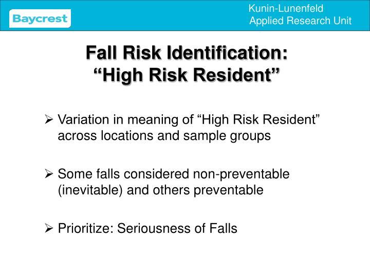 Fall Risk Identification: