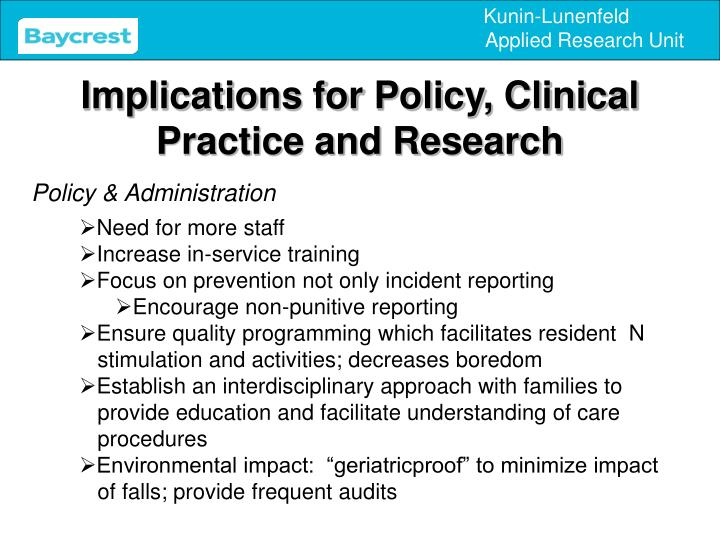 Implications for Policy, Clinical Practice and Research