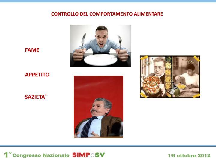 CONTROLLO DEL COMPORTAMENTO ALIMENTARE