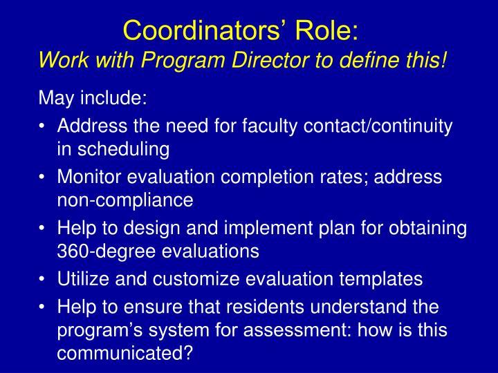 Coordinators' Role: