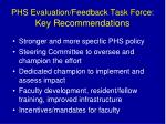 phs evaluation feedback task force key recommendations
