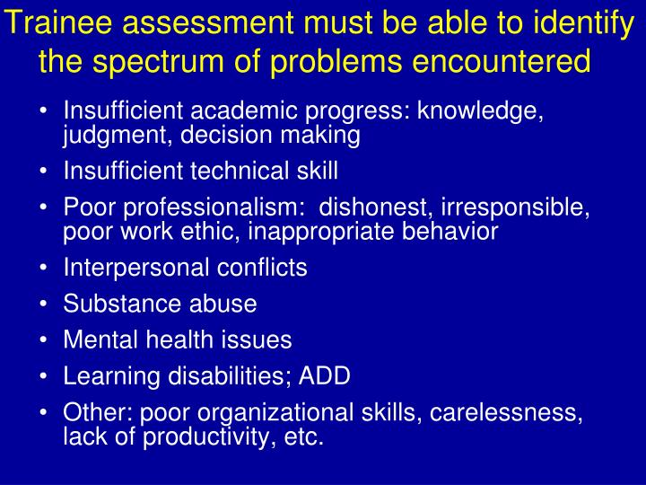 Trainee assessment must be able to identify the spectrum of problems encountered