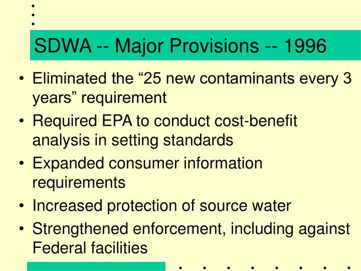 SDWA -- Major Provisions -- 1996
