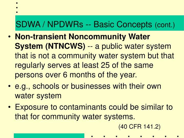 SDWA / NPDWRs -- Basic Concepts