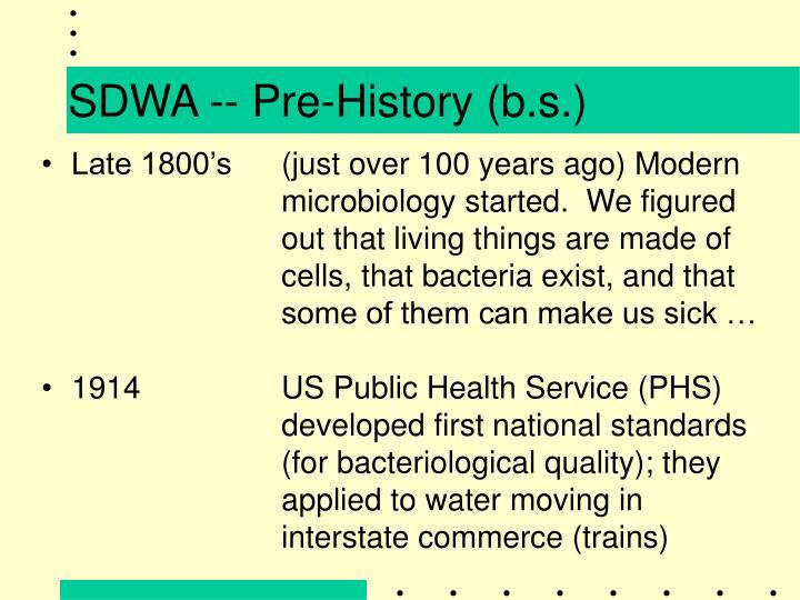 SDWA -- Pre-History (b.s.)