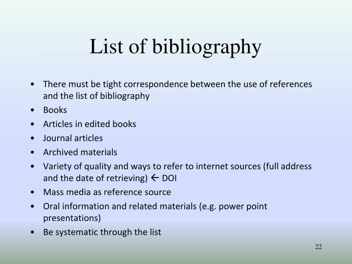 List of bibliography