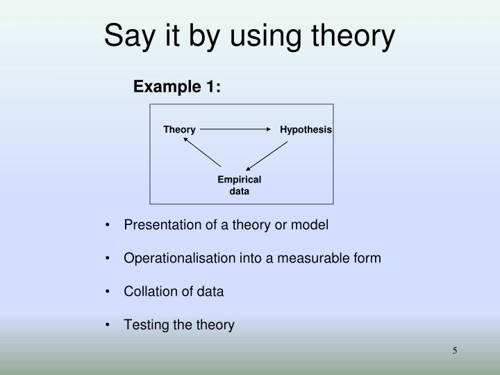 Say it by using theory
