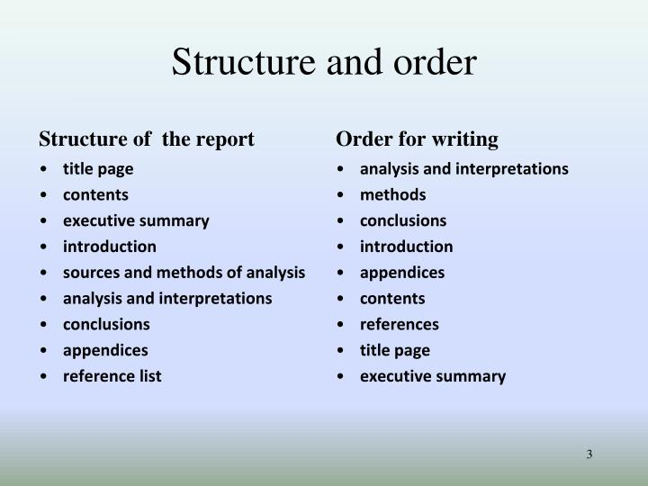 Structure and order
