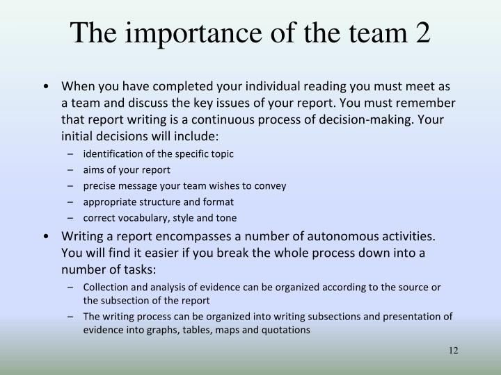 The importance of the team 2