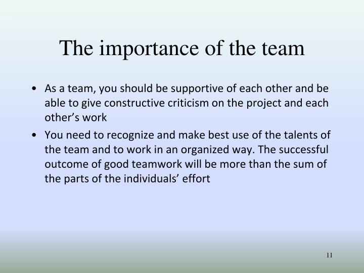 The importance of the team